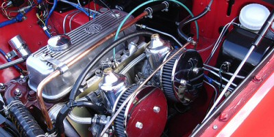 A tidy MG engine compartment with many new parts.